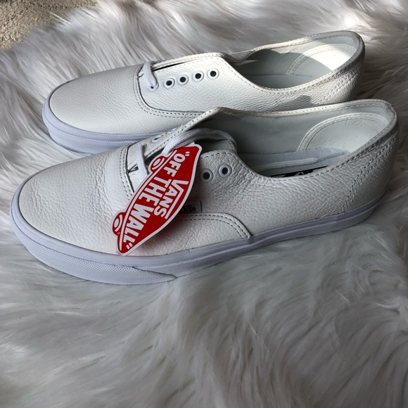 vans authentic leather silver sneakers